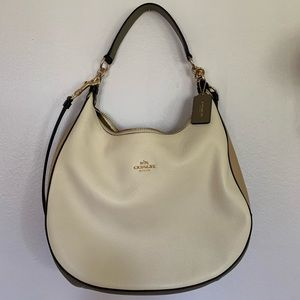 Coach White Pebbled Leather Hobo Bag